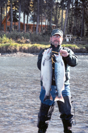 Silver Salmon caught in front of cabin